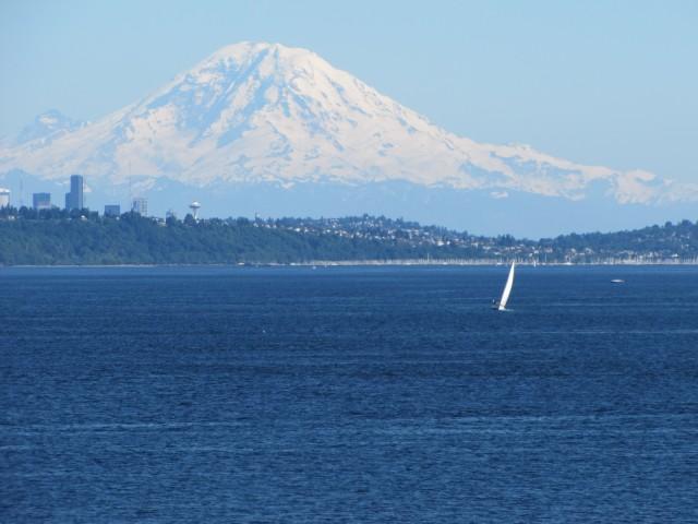 Mount Rainier over Puget Sound