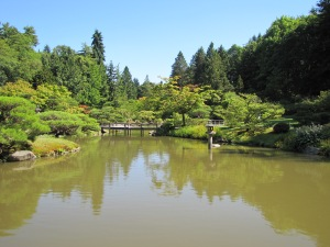 Seattle Japanese Garden Pond with zigzag bridge
