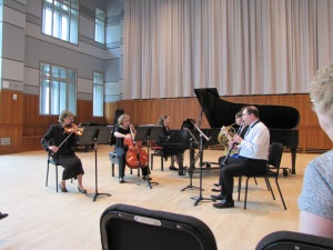 Mozart Quintet for Winds & Strings; Hubby on clarinet