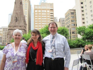RushBabe and Hubby with Mimi Stillman, on the terrace at Curtis Institute of Music