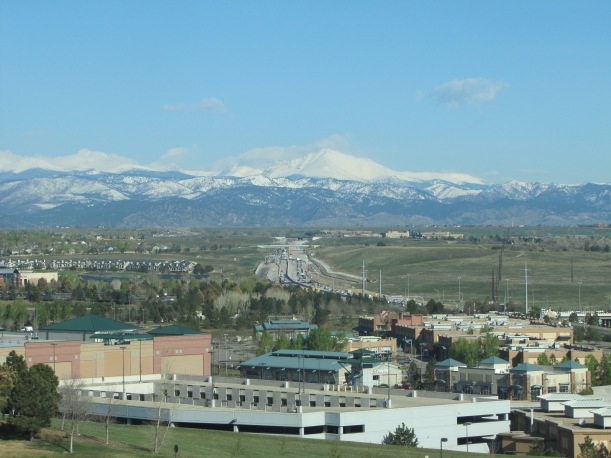 The Rockies, from the tenth floor of our hotel