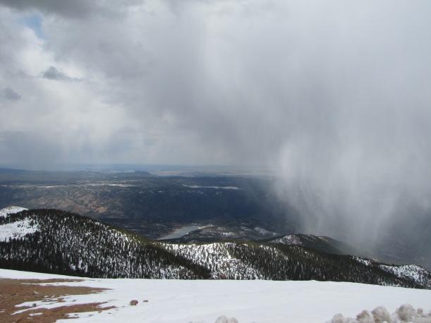 Colorado Springs from Pike's Peak.  Blowing snow.