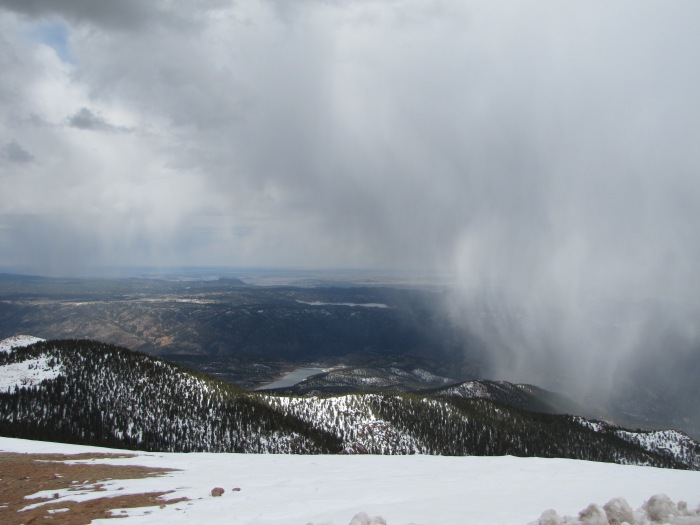Colorado Springs from Pike's Peak.  Blowing snow.
