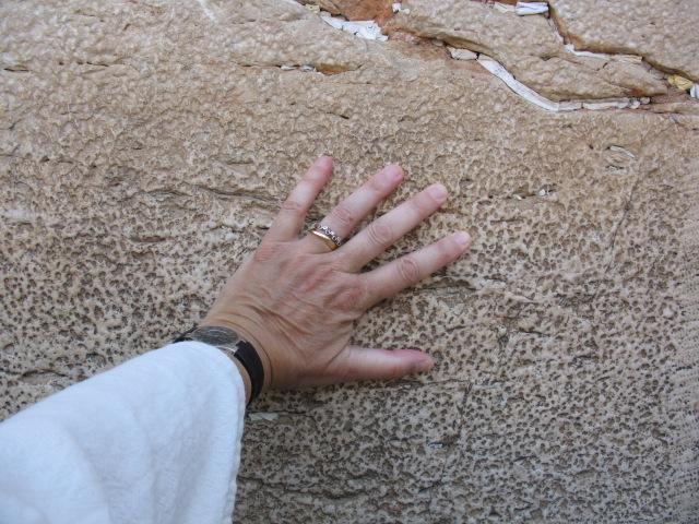 My hand on Wailing Wall