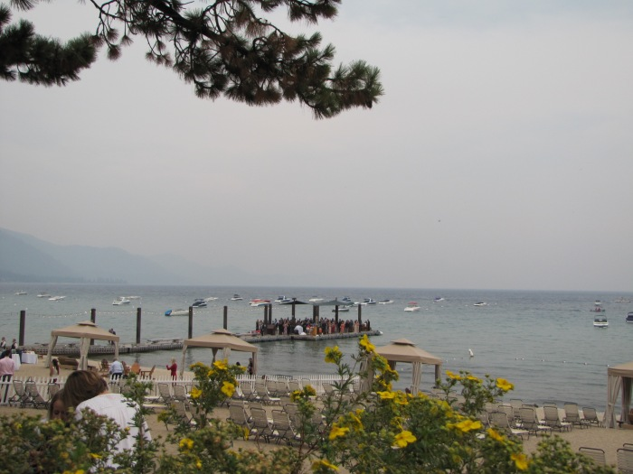 South shore of Lake Tahoe, smoky from California wildfires