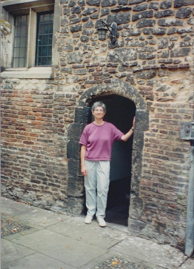"Myself, in 14th Century doorway, Trinity Hall, Cambridge-I'm 5'6"" tall"