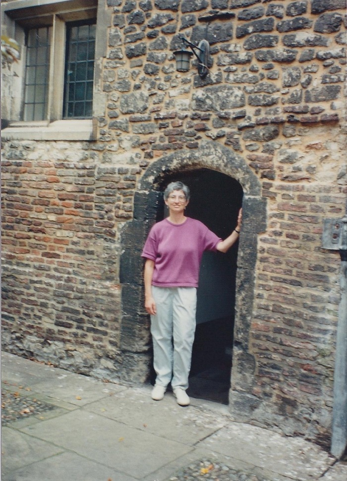 "Myself, in 14th Century doorway, Trinity Hall, Cambridge-I'm 5'6"" tall"