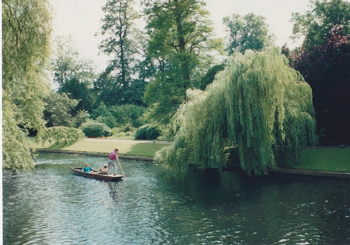 A punter on the River Cam, which forms the back boundary of Trinity Hall.
