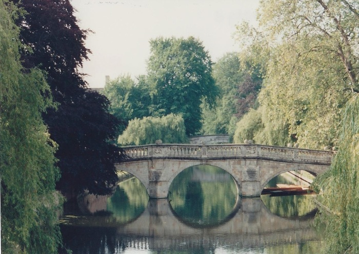 A peaceful River Cam bridge, behind Trinity Hall.