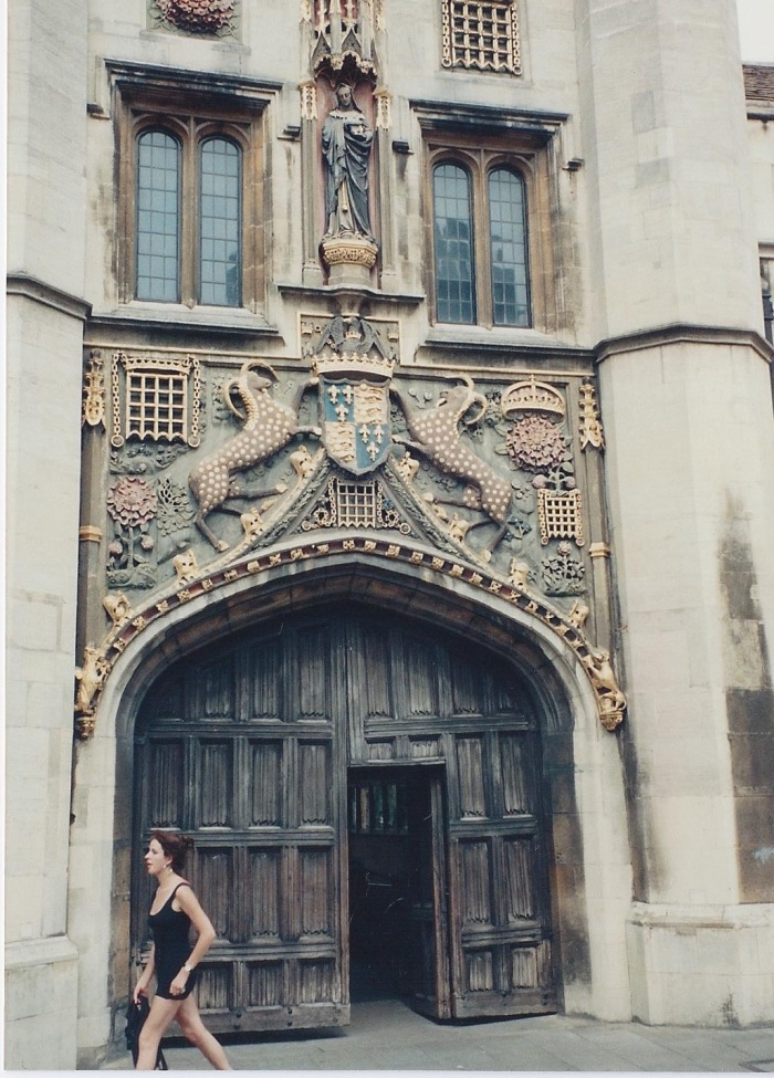 This is the door to Peterhouse College, Cambridge. It's the oldest College, started by the Bishop of Ely in 1284.