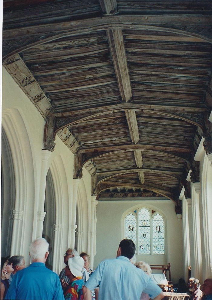 Inside Long Melford Church, beautiful well-preserved wood ceiling.