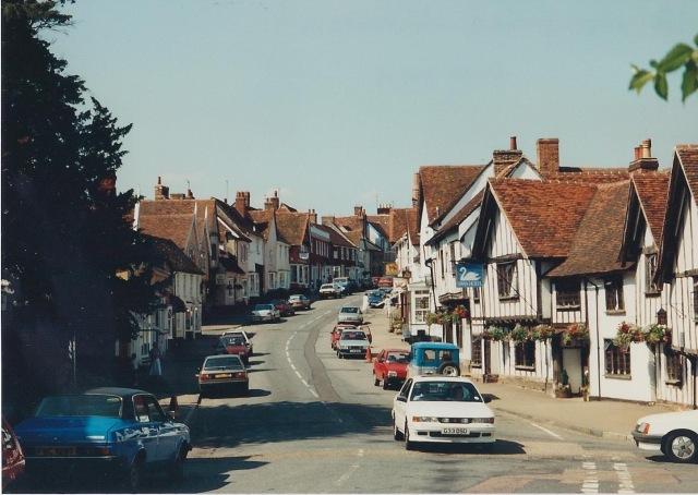High Street, Lavenham. A wool town.