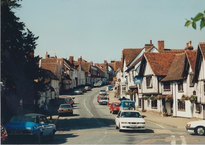 High Street, Lavenham. A wool town.
