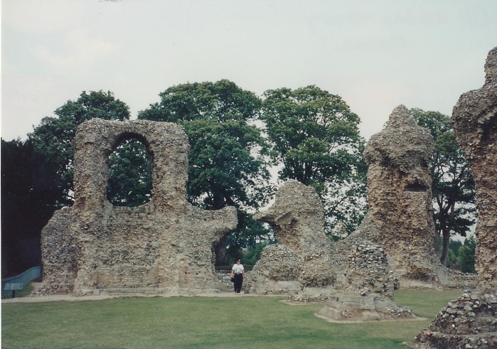 Abbey Church ruins, Bury St. Edmunds.  Person for scale.