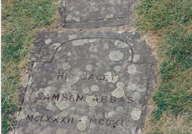 Headstone of Abbot Samson, who was Jocelyn de Brakelond's Superior in 1110 AD