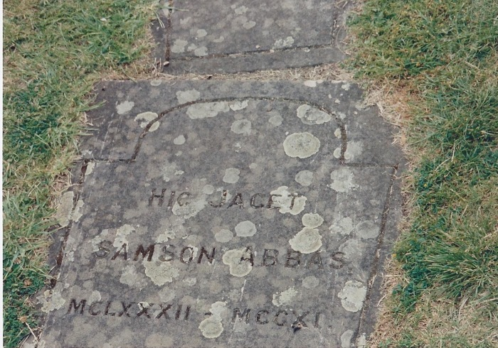 Headstone of Abbot Samson, who was Jocelyn de Brakelond's Superior in 1110 AD
