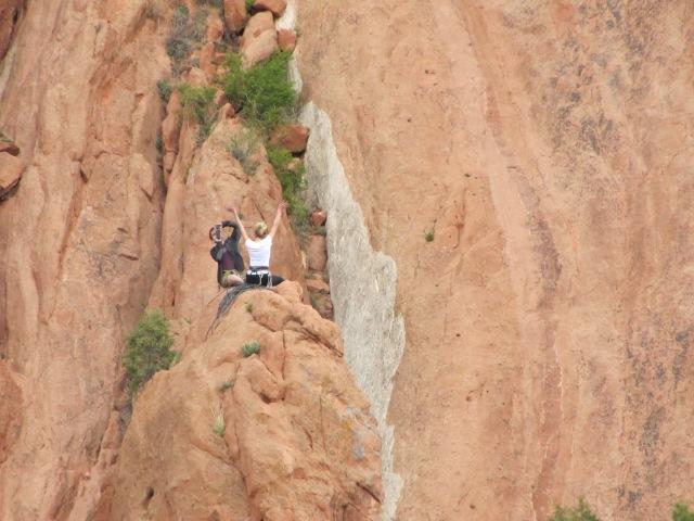 Rock climber's elation