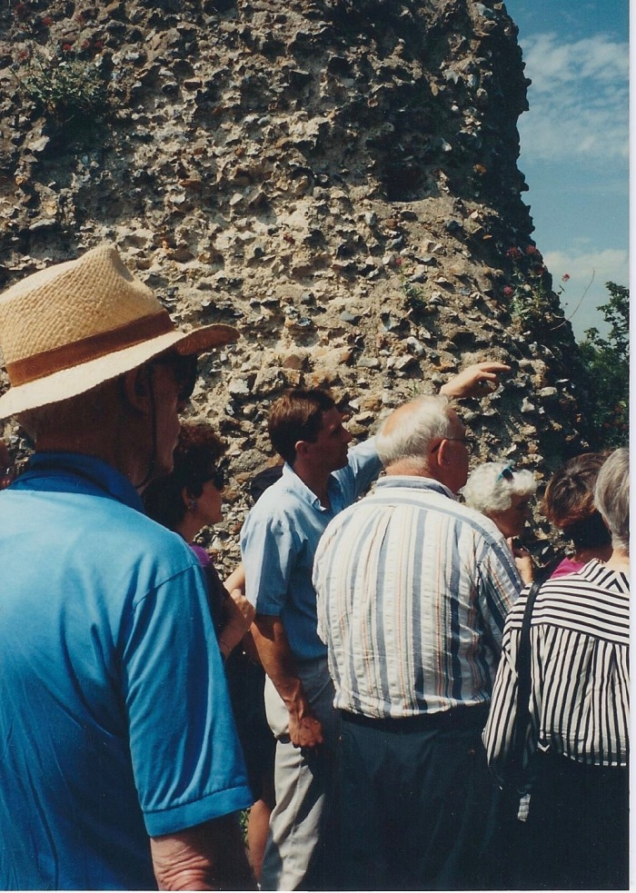 Dr. Mark Bailey, at Clare Castle, showing Motte and Bailey architecture