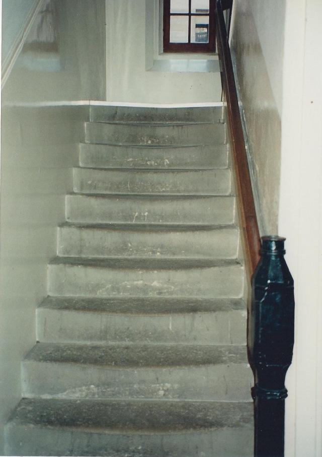 Dorm stairs, well-worn