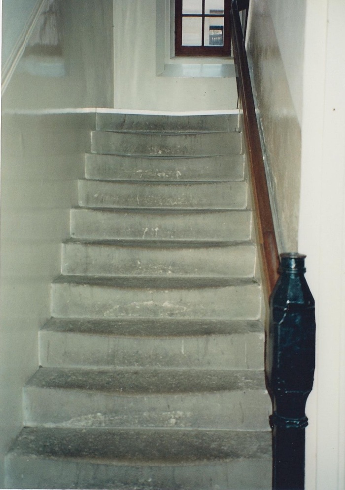 Dorm stairs, well-worn