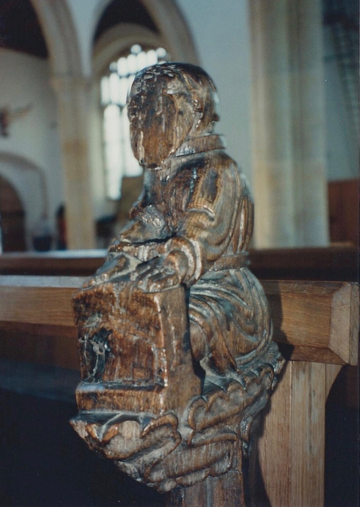 """Avarice"", pew carving, Blytheborough Church"