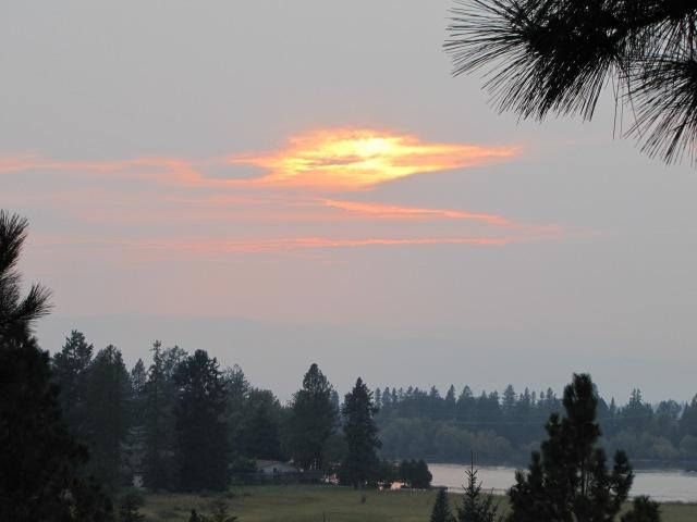 Sun glow over lake