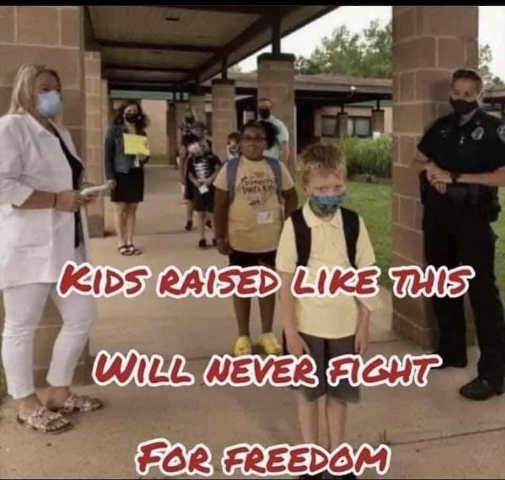message-kids-raised-face-masks-never-fight-for-freedom