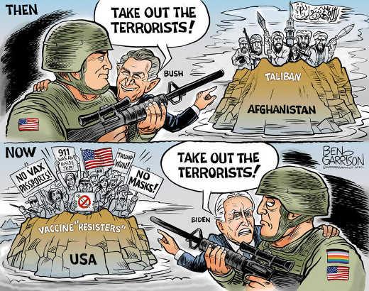 bush-take-out-terrorists-afghanistan-biden-vaccine-resisters-no-masks-tump-won-usa